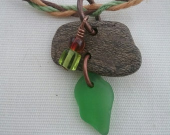 Forest by the Sea, beach glass, fairy necklace, handmade
