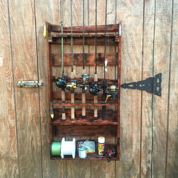 Items similar to wooden fishing rod holder fishing rod for Wooden fishing pole holder
