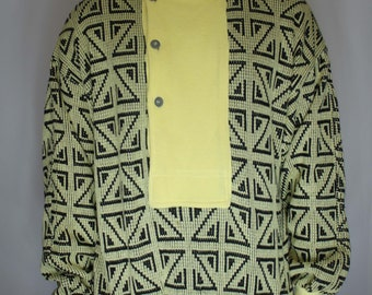 Vintage 80s Tom Taylor Yellow Geometric Button Up Flap Sweater M