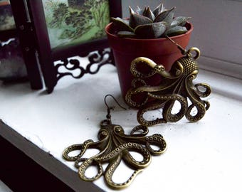 Giant Octopus Earrings