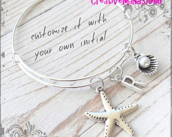 Starfish bracelet, Bangle Bracelet, Initial bracelet, Custom Bracelet, Gift for her