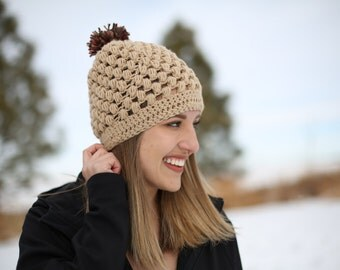 Beige Puff Stitch Beanie with Maroon and Olive Poof