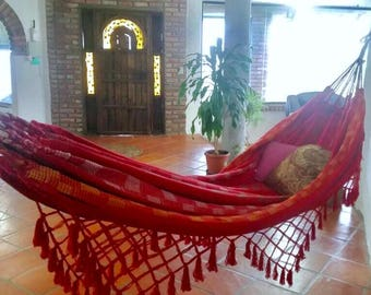 Red Hammock, Doble size. Hand Woven 100% Cotton with hand made Bell Fringe