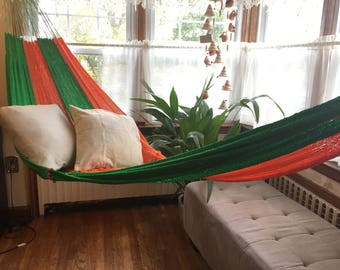 Beach Hammock, vibrant green orange color Hammock, interlooping hammock,  outdoor hammock. supper big 2+ people.