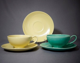 Two Serenade Cups, yellow and green with three Saucers, by Homer Laughlin