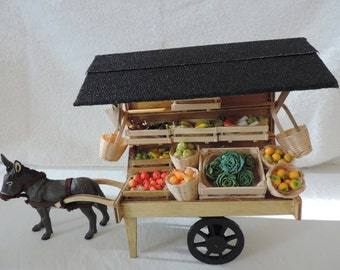 Market car with many fresh fruits in 1:12 scale