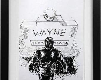 Inks Drawing of Batman tombstone Bruce Wayne