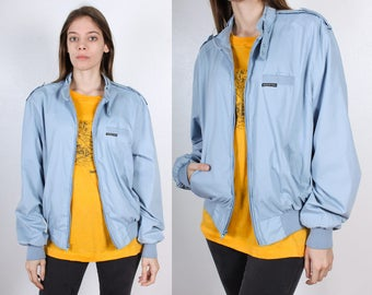 80s Members Only Jacket // Vintage Baby Blue Windbreaker 1980s - Large 46