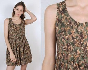 Grunge Mini Dress // Vintage 90s Floral Leaf Print Babydoll Tank Sleeveless - Medium