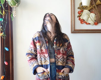 1990s Colorful Western Horse Woven Cardigan