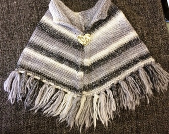 Greys & White Child's Poncho