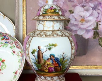 Antique Hand-painted Ginger Jar with Lid