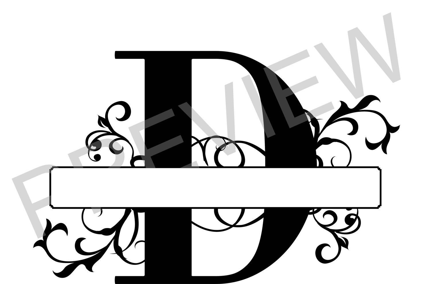 split monogram svg  letter d regal split alphabet  vector files for silhouette  silhouette