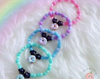 Pastel donuts clay bracelets fairy kei pastel goth kawaii