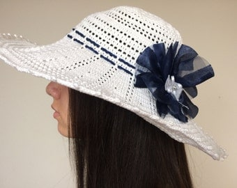 Crochet summer hat...White cotton sun hat