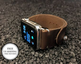 Leather Apple Watch Band 42mm Men Horween Leather, Father's Day, Dark Brown Chromexcel Adjustable button stud strap, Handmade Apple Watch,