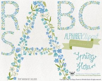 Flowers Clipart 80% OFF! - Alphabet Clipart Letters Spring Flora 4 Flowers Floral Vector Graphics PNG Blue