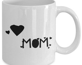 Cool Mom Gift coffee mug with hearts - Mom hearts - Unique gift mug for mom