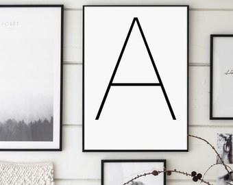 Letter A, a Print, Monogram, Letters Art, Letters Typography, Letter Wall Art, Scandinavian Letter, Affiche Scandinave, Black Letter A