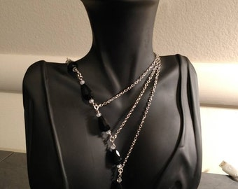 Black and Silver Cascade Necklace