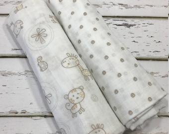 Swaddle Blanket Muslin Swaddle Blanket Gauze Swaddle Blanket Polka Dot Swaddle Blanket Nursery Animals Swaddle Blanket Neutral Swaddle