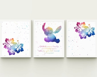 Quote ohana means family Disney inspired printable watercolor nursery playroom decor, girl room Lilo and Stich quote instant download