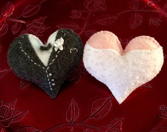 Wedding/Valentine's Day Hearts in wedding dress and tuxedo (set of 2)