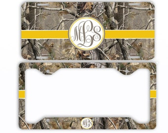 personalized monogram license plate car tag yellow ribbon camo monogram frame personalized set or bike atv motorcycle tag