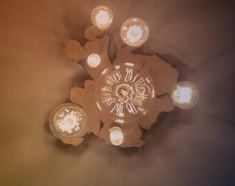Light fitting, kitchen, bedroom, living room, chandelier, real timber, Edison bulbs, bespoke, made in England