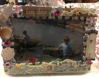 Beach themed picture frame