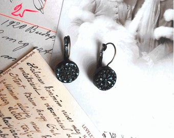 Reserved for Aqueue - Victorian Jet carved rosette-shaped earrings