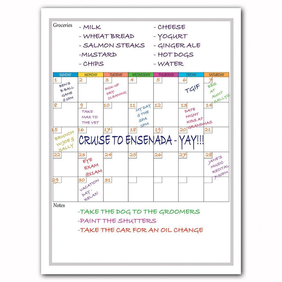 Weekly Calendar Magnet : Monthly calendar whiteboard magnetic for fridge