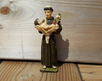 Saint Francis of Assisi Protector of Children with Baby Jesus Resin Figurine Vintage Gift for Baptism Catholic Faith First Communion Figure