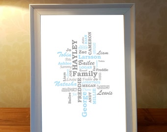 Family word art etsy family personalised word art framed word art personalised print family print christmas pronofoot35fo Choice Image