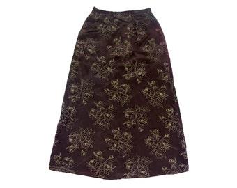Vintage 100% silk women skirt brown floral flowers