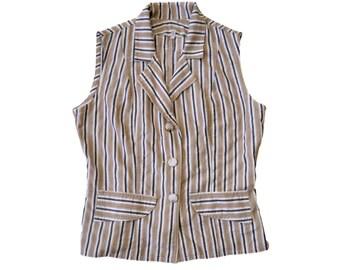 Vintage women striped top blouse vest beige white black gold 3 floral buttons
