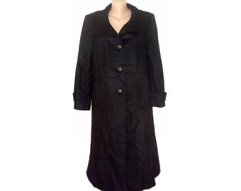 Vintage Goldix women long coat black wool and cashmere size 42
