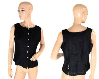 Vintage women top vest black 100% linen Made in France pearl buttons