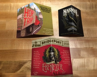 Set of 3 Upcycled Craft Beer Notebooks Deschutes Portland Bridgeport Narwhal Sierra Nevada