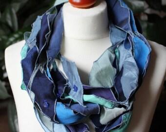 Scarf, loop, infinity, silks, Rhombi, patchwork