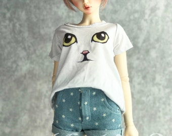 BJD clothes cats eyes white T-shirt for BJD,in 2 size