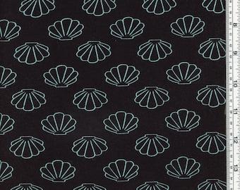 Mint Seashells Rayon Spandex Jersey Fabric