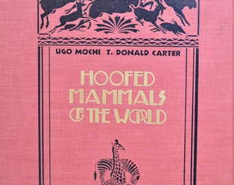"""Ugo Mochi's """"Hoofed Mammals of the World"""" illustrated Silhouettes Animals, Possibly Signed 1953"""