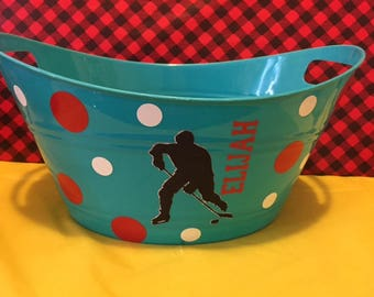 Hockey Toy Basket, Personalized Basket, Toy Bucket, Gift Basket, Kids Gift, Toy Basket, Lego Basket