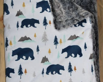 Woodland Bears Minky Blanket- Toddler Blanket- Baby Blanket- Rustic- Crib Bedding- Baby Boy Blanket- Baby Shower Gift