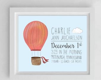 Custom Birth Announcement | Balloons Nursery Wall Art | Hot Air Balloon | Illustration | Digital Download