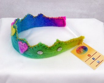 Beautiful rainbow wool felt princess/ prince crown