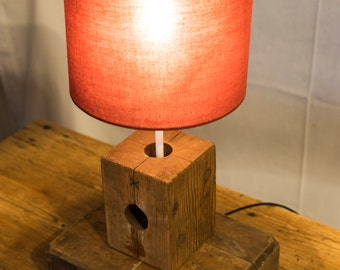 Reclaimed Wood Block Lamp With Red Shade