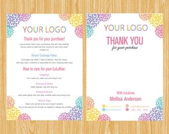 Printable Thank You Card, Policy Card, Care Card, Care Instruction Lula Return or Exchange LLRThank07 | TY_06