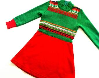 Girls DreSs vintage 70s retro size 2Y oldSchoOl hiPster MädchenKleid dress